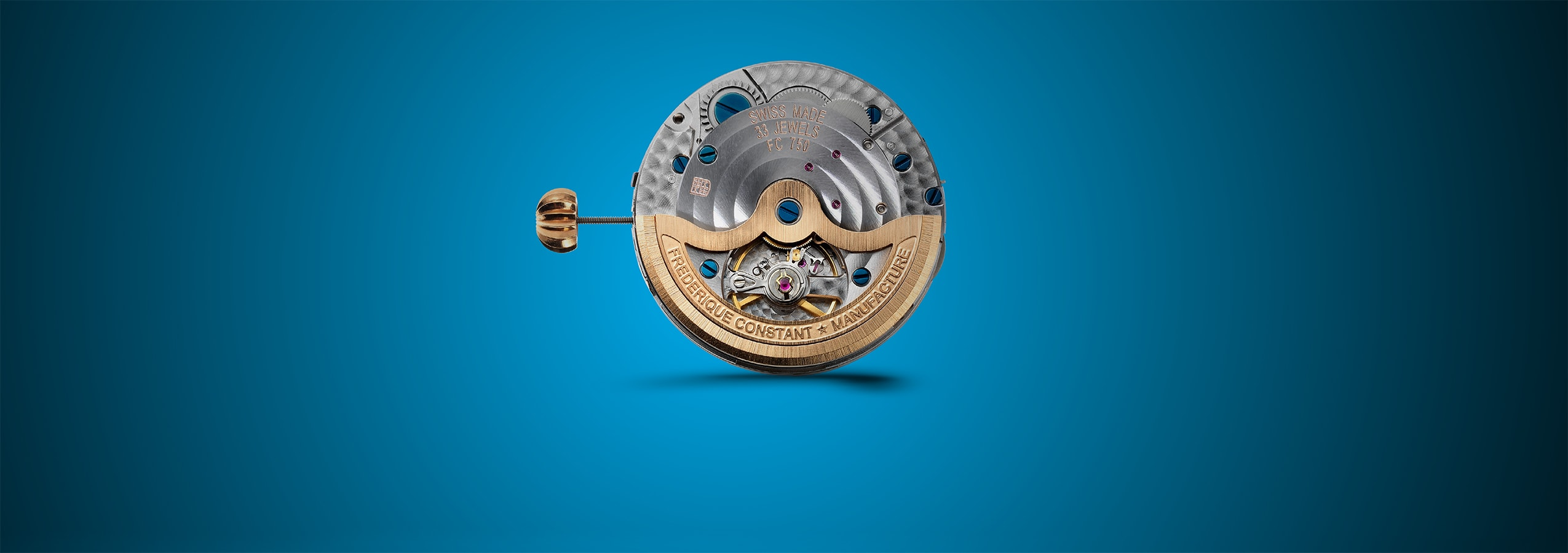 The mechanical part of the FC-750 is an in-house automatic caliber with date, set by the crown at 3 o'clock